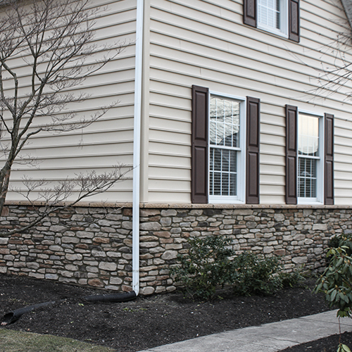 This Newtown, PA home enjoys beautiful shutters surrounding the James Hardie Siding.